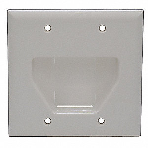 Light Almond Audio/Video Wall Plate, Plastic, Number of Gangs: 2, Cable Type: Cable/Recessed