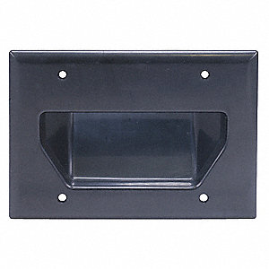 Black Audio/Video Wall Plate, Plastic, Number of Gangs: 3, Cable Type: Cable/Recessed