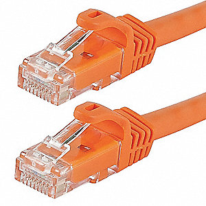 Ethernet Cable,Cat 6,Orange,0.5 ft.