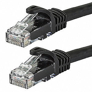 Black Ethernet Cable, Connector Type: RJ45 - 8P8C, Boot Type:  Flexboot, 1 ft. Length