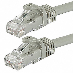 Gray Ethernet Cable, Connector Type: RJ45 - 8P8C, Boot Type:  Flexboot, 2 ft. Length
