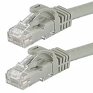 Gray Ethernet Cable, Connector Type: RJ45 - 8P8C, Boot Type:  Flexboot, 3 ft. Length