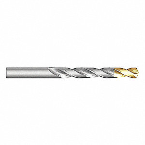 "Jobber Drill Bit, 15/32"", High Speed Steel, TiN, List Number A012S"