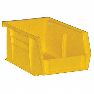 "Hang and Stack Bin, Yellow, 5-7/16"" Outside Length, 4-3/16"" Outside Width, 3"" Outside Height"