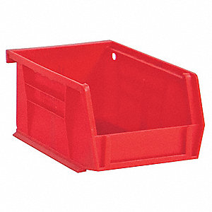 "Hang and Stack Bin, Red, 5-7/16"" Outside Length, 4-3/16"" Outside Width, 3"" Outside Height"