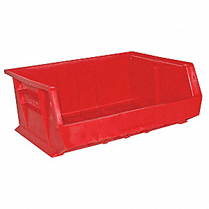 "Hang and Stack Bin, Red, 14-5/8"" Outside Length, 16-3/4"" Outside Width, 7"" Outside Height"