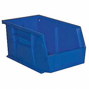 "Hang and Stack Bin, Blue, 11-3/8"" Outside Length, 5-1/2"" Outside Width, 5"" Outside Height"