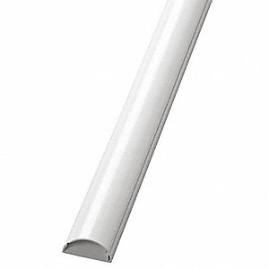 6 ft. 7 in. Half Round Mini Series Raceway, PVC, White, Cover Type: Latching