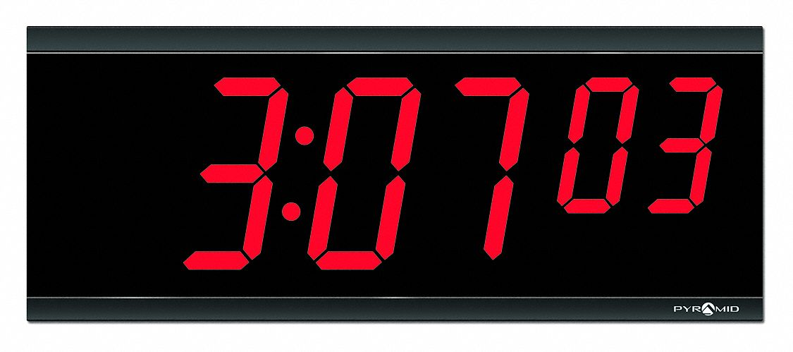 6 1/4 in x 15 1/2 in Rectangle LED Wall Clock, Black ABS Plastic Frame