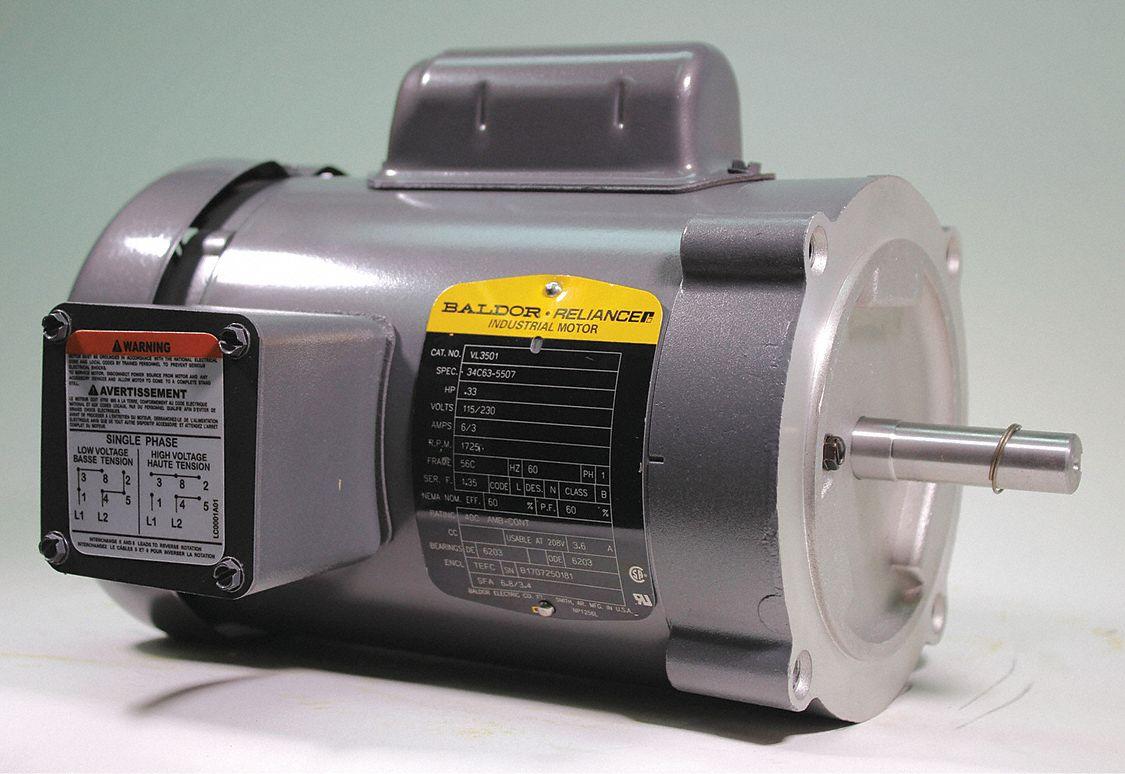 baldor electric 1/3 hp, general purpose motor, capacitor-start, 1725  nameplate rpm, 115/230 voltage, 56c frame - 38g464 vl3501 - grainger  grainger