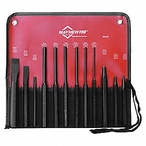 Punch and Chisel Set,12-Piece,Steel