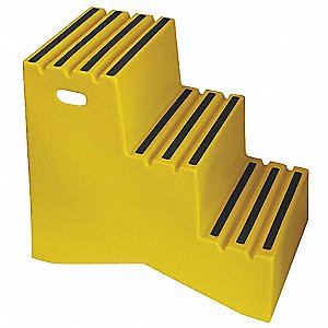"Polyethylene Step Stand, 29-1/2"" Overall Height, 500 lb. Load Capacity, Number of Steps 3"