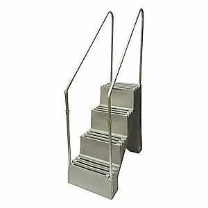 Step Stand,4 Steps,Polyethylene,Gray