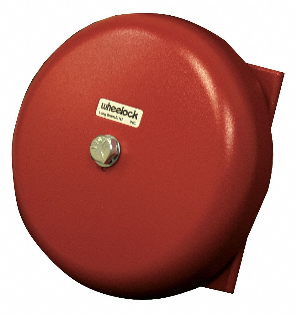 Bell, Continuous/Pulse Sound Pattern, 24V AC Voltage, Decibels: 85 dB, Color: Red