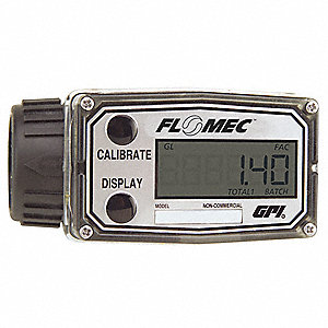 Turbine Electronic Flowmeter, Nylon, 3 to 50 gpm