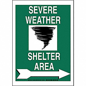 "Evacuation, Assembly or Shelter, No Header, Polyester, 14"" x 10"", Adhesive Surface"