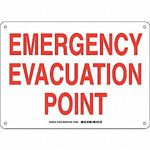 Facility Sign,Plastic,10 x 14 in,Red/Wht