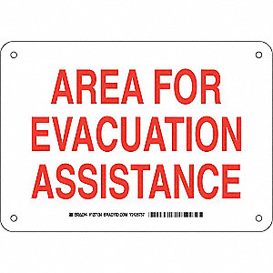 Fire Safety Sign,Alum,7 x 10 in,Wht/Red