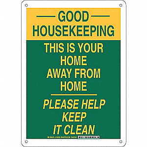 "Cleaning and Maintenance, Good Housekeeping, Aluminum, 14"" x 10"", With Mounting Holes"