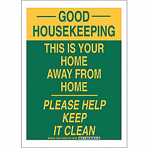 "Cleaning and Maintenance, Good Housekeeping, Polyester, 14"" x 10"", Adhesive Surface"