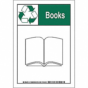 "Recycling, Books, Polyester, 14"" x 10"", Adhesive Surface, Not Retroreflective"
