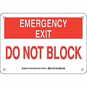 "Keep Clear, Emergency Exit, Aluminum, 7"" x 10"", With Mounting Holes, Not Retroreflective"