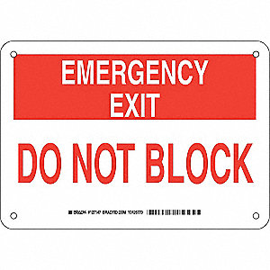 "Keep Clear, Emergency Exit, Plastic, 7"" x 10"", With Mounting Holes, Not Retroreflective"