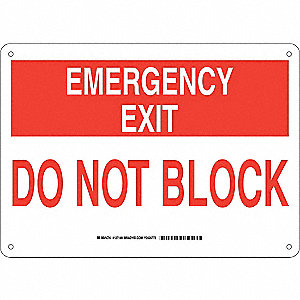 "Keep Clear, Emergency Exit, Aluminum, 10"" x 14"", With Mounting Holes, Not Retroreflective"