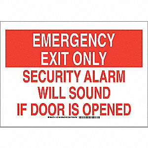 "Emergency Exit Sign,10"" x 14"",Polyester"
