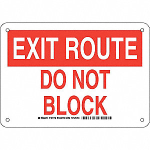 Exit Sign,Aluminum,7 x 10 in,Red/White