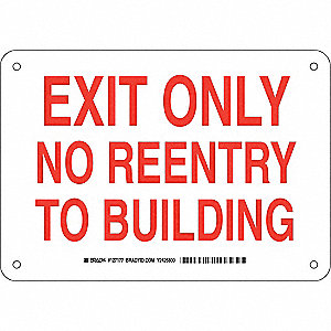 Exit Sign,Plastic,7 x 10 in,Red/White
