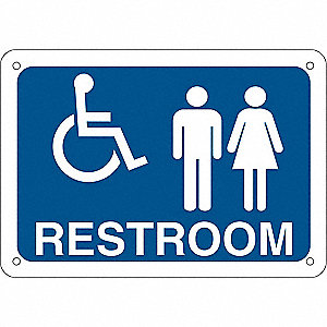 Restroom Sign,Eng,Alum,7 x10 in,Wht/Blue