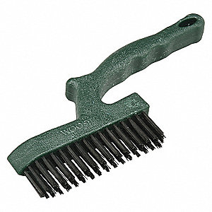 Wire Brush,Green,Black Tempered,10 in. L