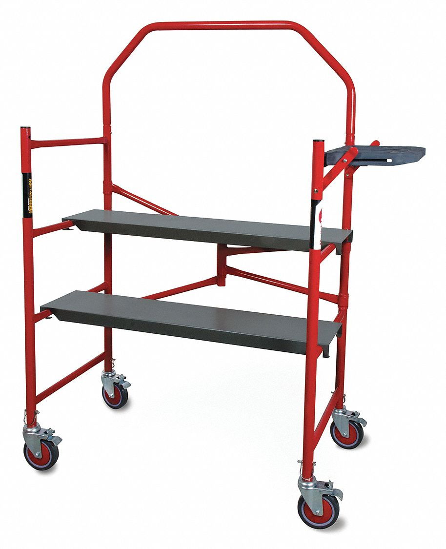 Portable Scaffold, Steel, 4 ft Platform Height, 5 ft 3 in Overall Height, 750 lb Load Capacity