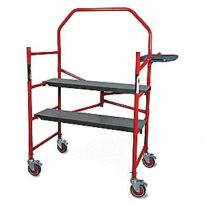 "Portable Scaffold, Aluminum, 4 ft. Platform Height, 5 ft. 3"" Overall Height, 500 lb. Load Capacity"