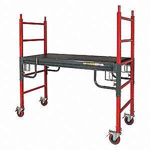 "Portable Scaffold, Steel, 6 ft. Platform Height, 6 ft. 3"" Overall Height, 1500 lb. Load Capacity"
