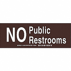 Restroom Sign,Eng,Poly,3.5 x10,Wht/Brown