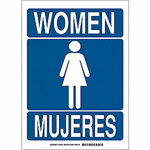 Restroom Sign,Bilingual,Poly,14 x10 in