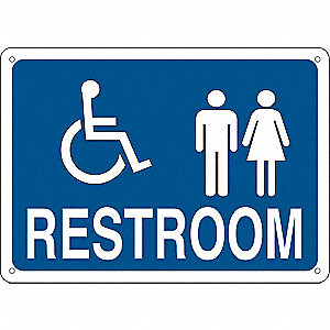 Restroom Sign,Eng,Poly,10x14 in,Wht/Blue