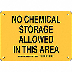 "Chemical, Gas or Hazardous Materials, No Header, Aluminum, 7"" x 10"", With Mounting Holes"