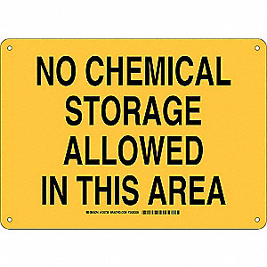 "Chemical, Gas or Hazardous Materials, No Header, Aluminum, 10"" x 14"", With Mounting Holes"