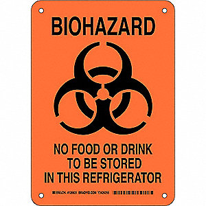 "Biohazard, No Header, Plastic, 10"" x 7"", With Mounting Holes, Not Retroreflective"