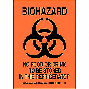 "Biohazard, No Header, Polyester, 10"" x 7"", With Mounting Holes, Not Retroreflective"