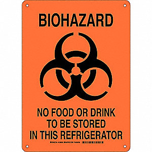 "Biohazard, No Header, Plastic, 14"" x 10"", Not Retroreflective"