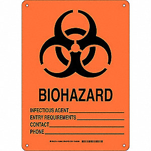 "Biohazard, No Header, Aluminum, 14"" x 10"", With Mounting Holes, Not Retroreflective"