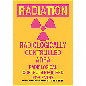 "Radiation and X-Ray, Radiation, Polyester, 10"" x 7"", Adhesive Surface, Not Retroreflective"