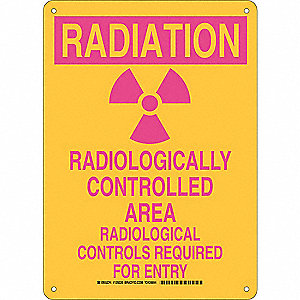 "Radiation and X-Ray, Radiation, Plastic, 14"" x 10"", With Mounting Holes, Not Retroreflective"