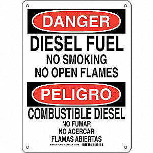 Danger No Smoking Sign,Bilingual,Diesel