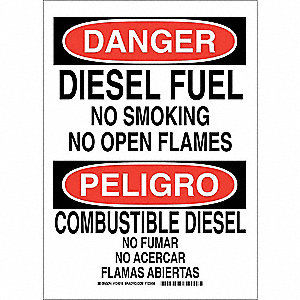 "No Smoking, Danger/Peligro, Polyester, 14"" x 10"", Adhesive Surface, Not Retroreflective"