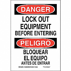 "Lockout Tagout, Danger/Peligro, Plastic, 10"" x 7"", With Mounting Holes, Not Retroreflective"